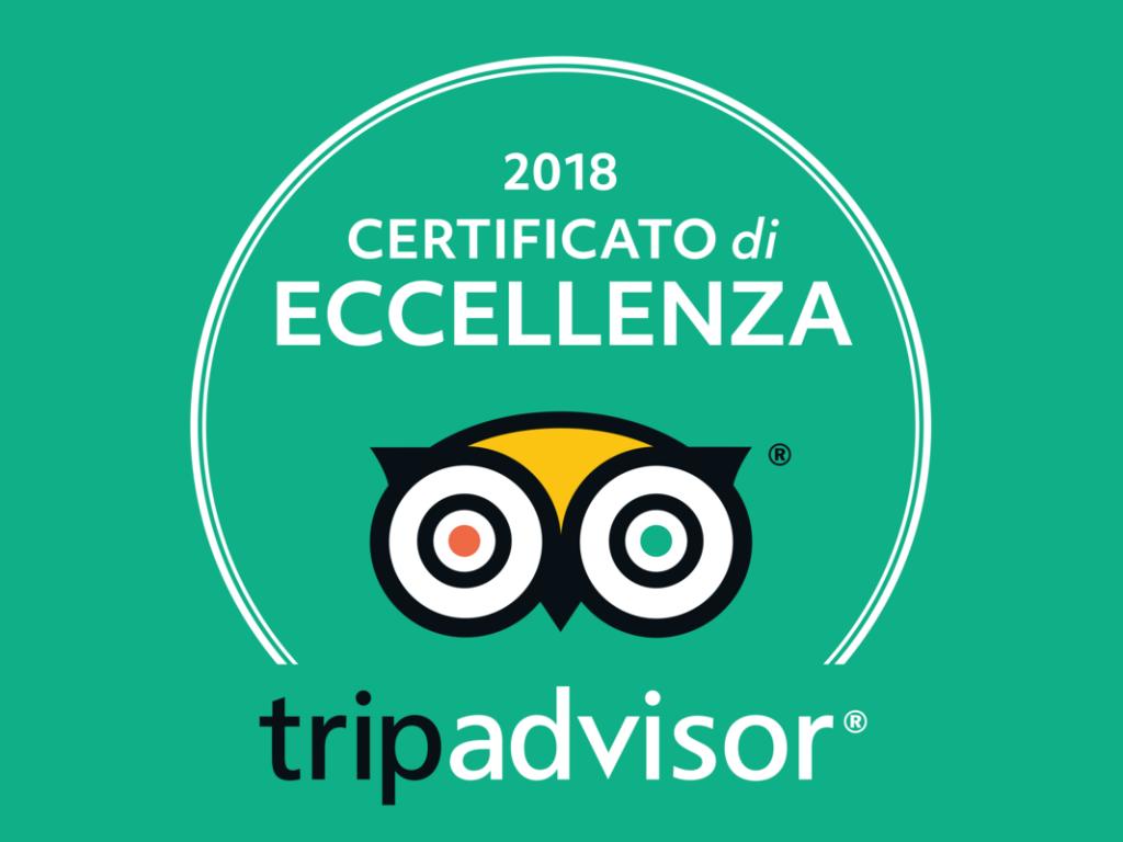 certificato eccellenza tripadvisor 2018